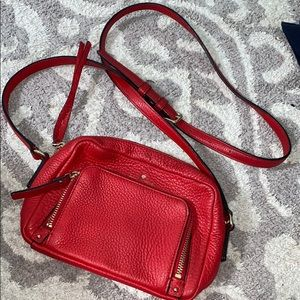 kate spade red crossbody gold detailing